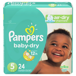 Pañales Pampers Baby-Dry, Desechables, Talle 5, 24 unidades
