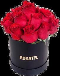 Sombrerera negra 15 Rosas rojas
