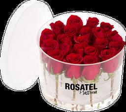 Caja Acrilica Redonda 21 rosas Rojas