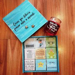 Combo motivos: chocolates con mensajes y velita