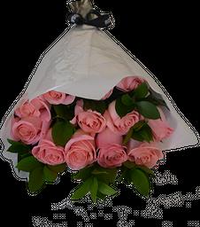 Ramo 12 Rosas Rosadas y follaje