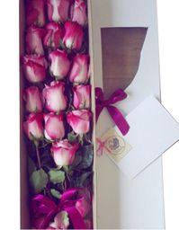 Caja blanca larga 16 rosas lila