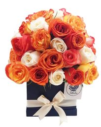 Caja cuadrada negra 40 rosas salmón y blanco