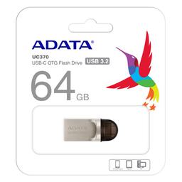 Memoria Microduo Adata UC370 64GB Usb 3.1 Y Tipo C - Gris