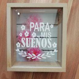 """Alcancía En Madera Y Vidrio """"Para Mis Sueños"""". Tamaño 25 X 25"""