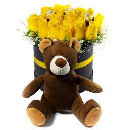 Arreglo Con 18 Rosas Amarillas, Chocolates y Peluche