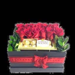 Caja Con 12 Flores y 8 Chocolates