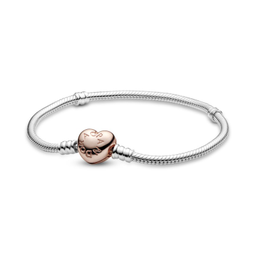 Brazalete Rose Pandora Moments Con Broche de Corazón