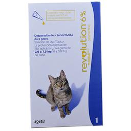 Antiparasitario Revolution 6% Azul Gatos de 2.6 a 7.5 Kg 0.75 mL
