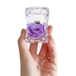 Cofre de lujo con rosa preservada lila
