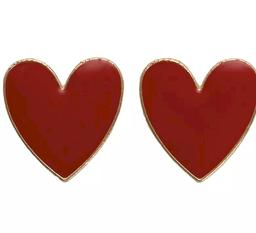 Aretes Florencia de Corazón Rojo y Dorado