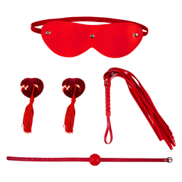 Kit Bondage 4 Set M, Gag, Nipple, Whip Red