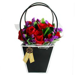 Flores Frescas Passion Romantic Basket Negra