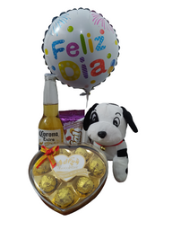 Peluche perro + chocolates