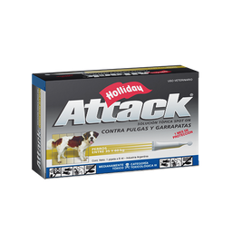 Holliday Antiparasitario Para Perro Attack 35 a 60 Kg 6 mL